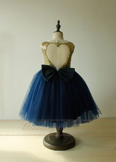 Navy flower girl dress gold top first by Weddingcollection on Etsy