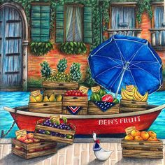 Ben's Fruit from Romantic country the third tale by @eriy06 is upload on my YouTube channel  I was using @prismacolor Premier pencils. #romanticcountry #romanticcountrythirdtale #romanticountrycoloringbook #bensfruit #fruitboat #boat #venice #artistdkdesign #DKdesign #prismacolorpencils #prismacolor #artecomoterapia