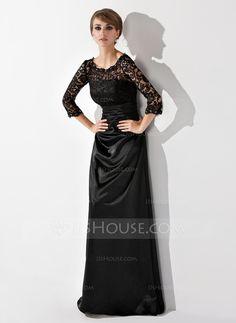 Corte A/Princesa Escote redondo Hasta el suelo Charmeuse Encaje Vestido de madrina con Volantes Bordado (008006037)