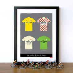 Bike Art Print, Tour de France, Classic French Cycling Jerseys Print $32