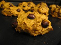"Easy Pumpkin Chocolate Chip Cookies. I'm going to substitute Caramel chips though since I""m allergic to chocolate :-)"