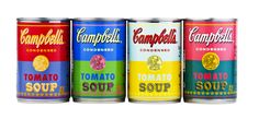 """ok now this is cool: """"To celebrate the anniversary of Andy Warhol's 1962 famed work, 32 Campbell's Soup Cans, Campbell Soup Co. is introducing limited-edition cans of Campbell's Tomato soup with labels derived from original Warhol artwork. Andy Warhol Obra, Andy Warhol Soup Cans, Campbell's Soup Cans, Pop Art, Campbell Soup Company, Edition Limitée, Arte Pop, 50th Anniversary, Packaging Design"""