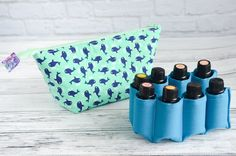 Mint Green Nautical Whales Essential Oil Bag Carrying Case - Green Blue Beachy Padded Zipper Wide Mouth Pouch for Essential Oils, Traveling