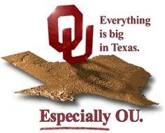 Oklahoma Sooner logo looms over Texas