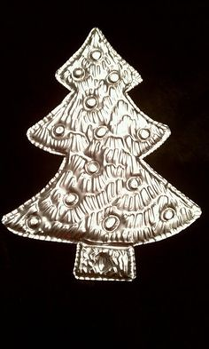 Hand Tooled Metal Christmas Tree Ornament by Gemmasgems on Etsy, $5.00