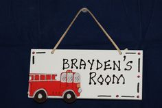 Fire Truck Room Sign Hand Personalized White by CutiePieKidsNames, $14.00