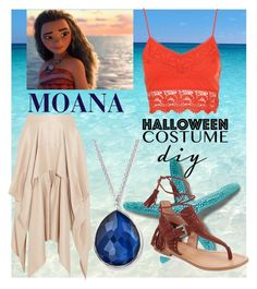 """moana halloween costume"" by nada-nody ❤ liked on Polyvore featuring Disney, Barbara Casasola, Ippolita, Sigerson Morrison, halloweencostume and DIYHalloween"