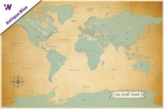 Diy tan oceans world push pin travel map kit travel maps push pin travel map travel world map with map pins our world travels paper anniversary gift ideasfirst gumiabroncs Image collections