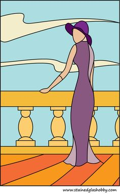Lady in purple stained glass panel