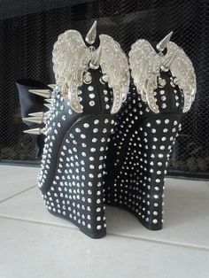 High Heel Platform Spiked Women Wedge Ankle Booties Black size 7...A SpikesByG Design. $120.00, via Etsy.