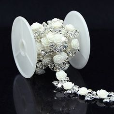 Visit to Buy  A Grade Rhinestone Silver Trim White Flower Trim Sew On Bridal  Costume Wedding Dress Supplies Hot Selling fb9811511c3c