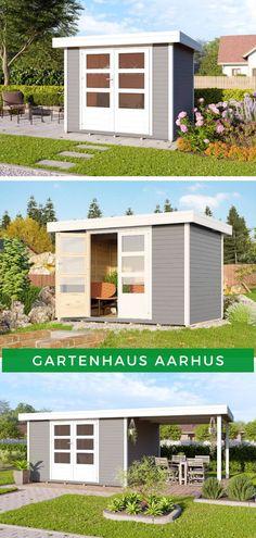 Gartenhaus modern: Entspannen Sie im eigenen Garten mit dem Gartenhaus Aarhus. Das moderne Gartenhaus mit Flachdach ist in verschiedenen Größen und Ausführungen erhältlich (zum Beispiel mit Terrasse), sodass für Sie sicherlich die passende Variante dabei ist. Jetzt Model ansehen!  #Gartenhaus #Flachdach #modern #Flachdachhaus #Terrasse Aarhus, Shed, Outdoor Structures, Home And Garden, Backyard Sheds, Coops, Barns, Tool Storage, Barn