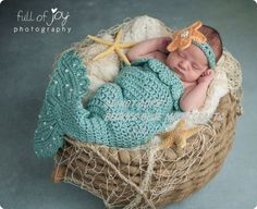 Crochet Baby Mermaid Photo by BeckysBlueMoonCrafts on Etsy, $5.95