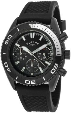 Rotary Men's Chronograph Black Dial Black IP SS Case Black Rubber GS00107-04 Watch on shopstyle.com