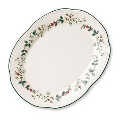 When it's time to bring the turkey to the table, this large platter makes your holiday presentation complete.  The Winterberry motif is embossed in dramatic relief around the...