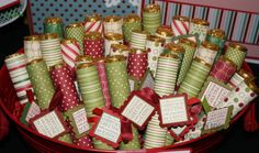 Cute classroom gift...rolos wrapped in scrapbook paper. Simple but cute!