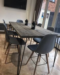 £240 Grey Reclaimed Scaffold Board Dining Table