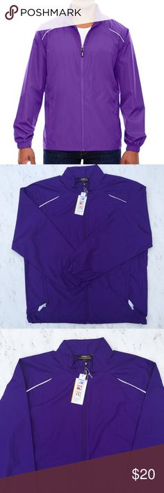 """NWT Men's Core 365 Lightweight Jacket Large Purple This is a Men's Core 365 Motivate Unlined Lightweight Jacket by North End • Size: Large • Color: Campus Purple • Long Sleeves • Zipper down • Elastic cuffs • Two zipper front pockets • Reflective piping on shoulders and across the back • Adjustable shock cord at hem • Audio port access through inside lower left pocket • Made of 100% Polyester • Machine wash • Made in Bangladesh • RN# 101146 • Style# 88183 • Approx measurements: Chest: 50""""…"""