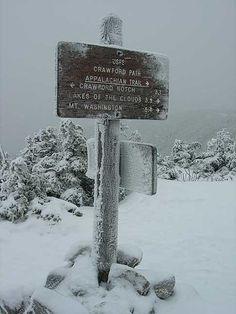 Sign post on Mt. Pierce. Appalachian Trail