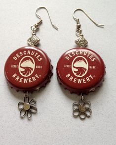 Deschutes Brewery Beer Bottle Cap Earrings by TinyMayor on Etsy, $10.00
