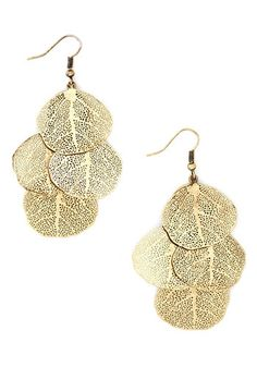 Pretty much a decently-to-well-done leaf or tree themed piece of jewelry is going to be well loved by yours truly.   The Good Leaf Earrings - Gold, Solid, Tiered, Fall