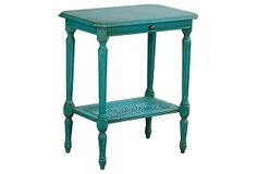 Canton Table, Turquoise on OneKingsLane.com - for end of settee next to chairs?  (if you want to consider mix-matched tables)