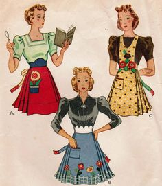 1930s McCall 725 UNCUT Vintage Sewing Pattern Misses' Set of Aprons One Size