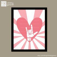 I Love You Sign Language Wall Art 8x10 Printable Image Valentines