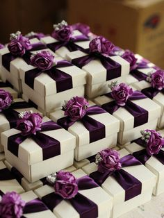 Great for my color scheme White Wedding Favor Candy Box with purple ribbon by sweetywedding, $1.99