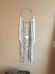 Moon Phase Dreamcatcher Wall Hanging Decor Moon Child Boho Bohemian Modern Simple Gift Idea Grey Gray Blue White Boy Nursery Bedroom Wall – Home Decoration Simple Gifts, Easy Gifts, Mur Diy, Macrame Wall Hanging Diy, Boho Diy, Modern Bohemian, Moon Child, Bedroom Wall, Bedroom Ideas