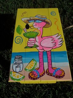 Tropical Adirondack Table Handcrafted Hand Painted Flamingo Beach Margarita