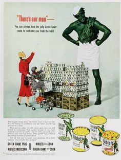 """Description: 1953 GREEN GIANT vintage print advertisement """"There's our man""""-- """"There's our man"""" -- You can always find the jolly Green Giant ready to welcome you . Giant Vintage, Weird Vintage, Vintage Ads, Vintage Images, Vintage Prints, Vintage Posters, Vintage Food, Retro Food, Vintage Stuff"""