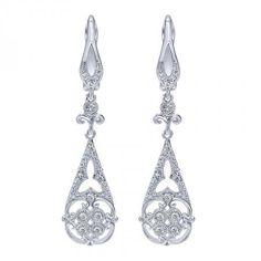 14k White Gold Diamond Drop Earrings | Williams Diamond Center