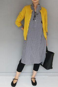 Gingham shirt dress, yellow cardigan and leggings