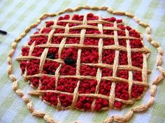 French knot cherry pie embroidery.  Look at all those french knots...whew! :) Pattern by Wild Olive. by selma