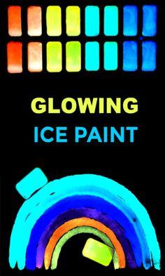 Make your own glowing ice chalk recipe for kids #icechalk #chalkpaint #frozenchalk #glowinthedarkpaint #growingajeweledrose #activitiesforkids Ice Painting, Painting For Kids, Art For Kids, Toddler Art Projects, Projects For Kids, Science Projects, Outdoor Projects, Rainbow Crafts, Rainbow Art