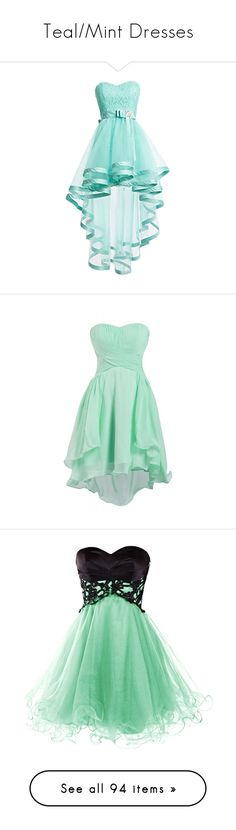 """Teal/Mint Dresses"" by megsjessd99 ❤ liked on Polyvore featuring dresses, short dresses, blue, robes, blue lace dress, prom dresses, blue homecoming dresses, short homecoming dresses, lace prom dresses and chiffon bridesmaid dresses"