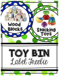 These toy bin labels are perfect for your playroom at home, or daycare/preschool classroom. Just print, laminate, and stick! :){See this on the Blog Here!}Clipart by Krista Wallden & Font by KG Fonts.
