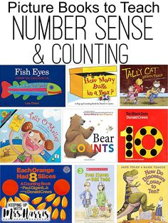 Number Sense picture books for teaching primary students about numbers and counting. Number Sense Kindergarten, Kindergarten Books, Preschool Books, Preschool Math, Math Classroom, Fun Math, Math Games, Math Activities, Easy Math