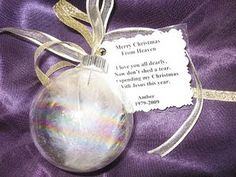 "Christmas in Heaven Ornament...for remembering a loved one during the toughest time of the year ""The Holidays"". Beautiful!"