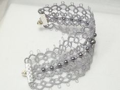 Tatted Jewelry Lace Cuff Bracelet in Silver by SnappyTatter, $49.50