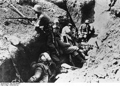 France, Arras, soldiers in the trenches;  World War I Western Front German soldiers resting.