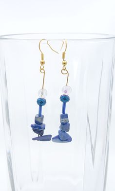 Handmade Gifts of Jewelry: Blue lapis, blue and reflective glass: One of a kind