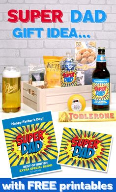 Great gift idea for Fathers Day! This fun Super Dad gift hamper can be easily created with all your Dad's favourite snacks, treats and beer... free printables available!