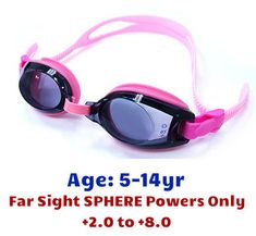 523c114ef4c Pink Kids Prescription Swim Goggles with Farsight Power Lenses (Dark Grey  Tinted Lenses)
