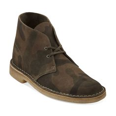Desert Boot-Men in Camoflage Green Suede - Mens Boots from Clarks