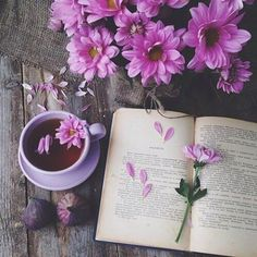 Coffee with Book and Flowers