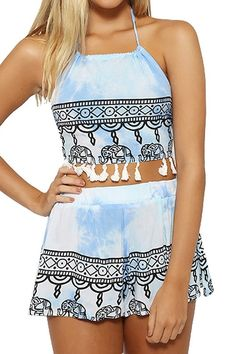 Halter Crop Top and Ethnic Print Shorts Suit