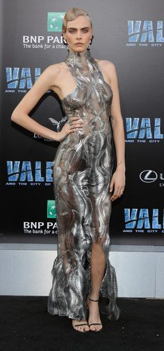 """Cara Delevinge in Iris van Herpen attends the """"Valerian and the City of a Thousand Planets"""" L.A. premiere. #bestdressed"""
