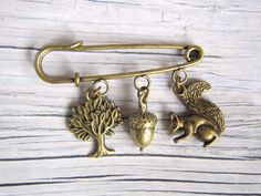 Brooch with acorn tree and squirrel by acornisborn on Etsy, $14.00